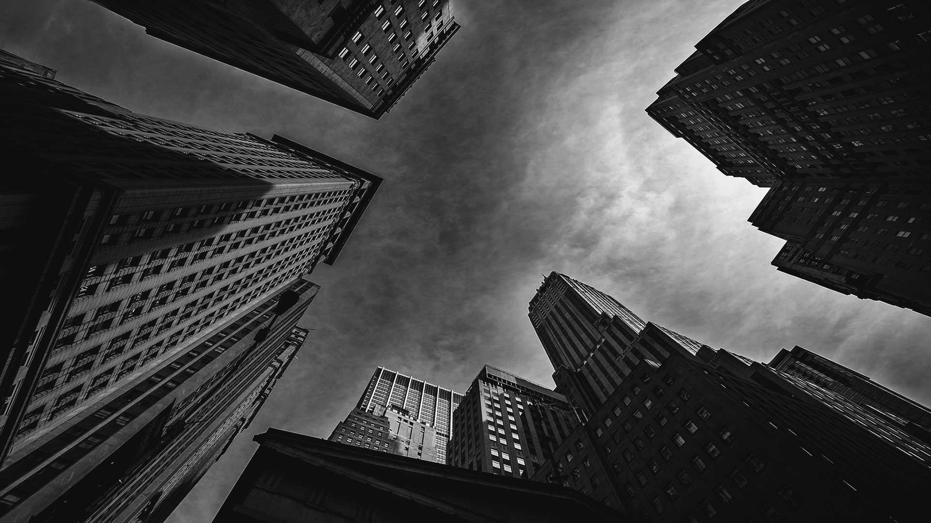 Wall St New York City Black and White by Marcus W K Wong